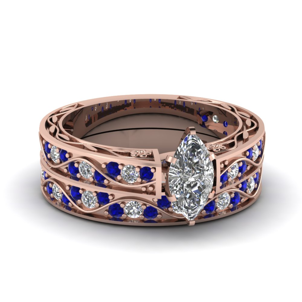 Marquise Cut Antique Diamond Filigree Wedding Set With Sapphire In