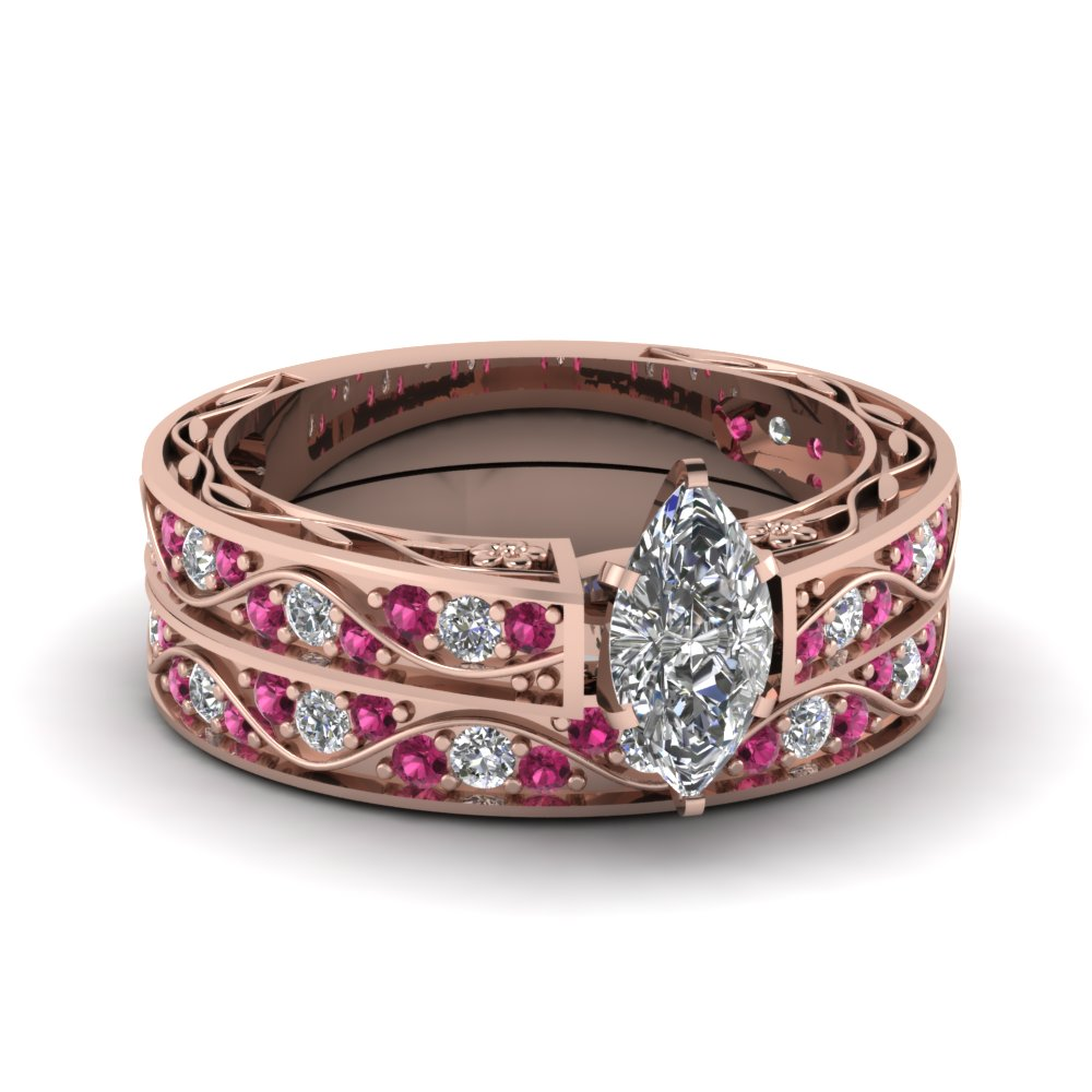 Marquise Cut Antique Diamond Filigree Wedding Set With Pink Sapphire