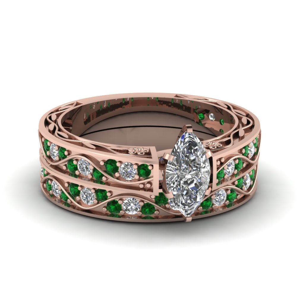 marquise shaped diamond shank wave wedding set with green emerald in 14K rose gold FDENS3543MQGEMGR NL RG