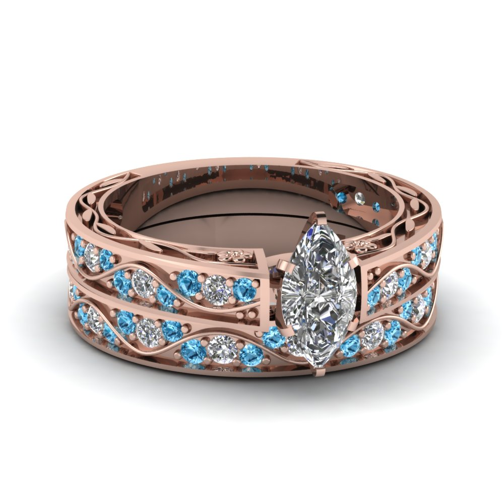 Marquise Shaped diamond Wedding Ring Sets with Ice Blue Topaz in 14K Rose Gold