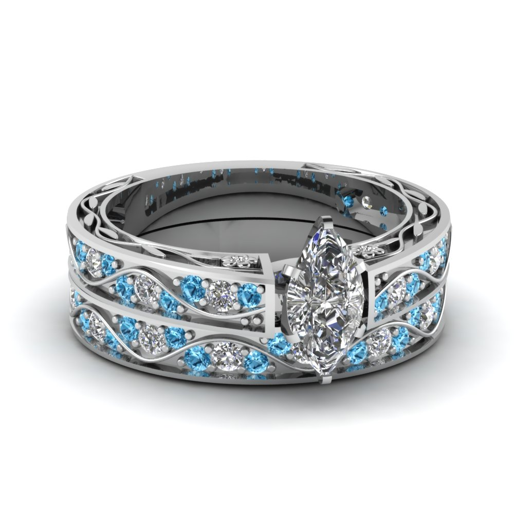 marquise cut antique diamond filigree wedding set with blue topaz in FDENS3543MQGICBLTO NL WG