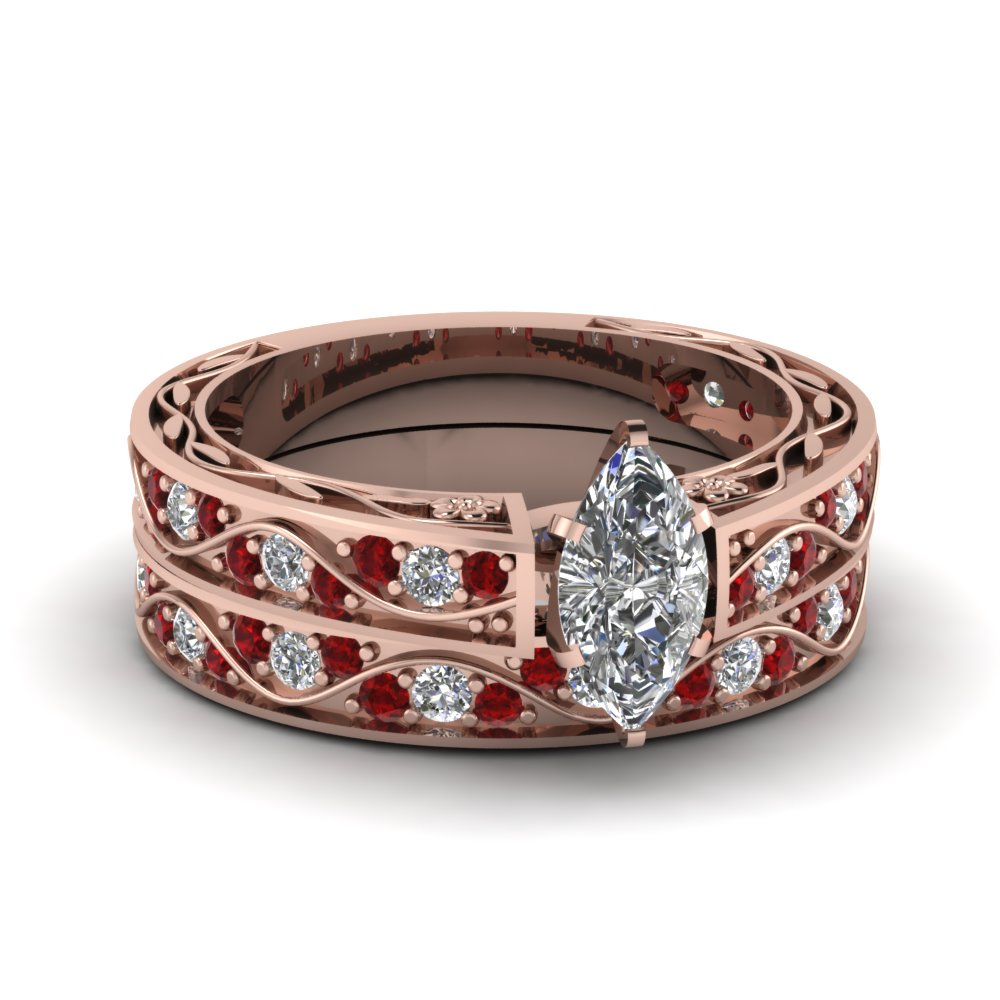 Marquise Cut Antique Diamond Filigree Wedding Set With Ruby In 14K