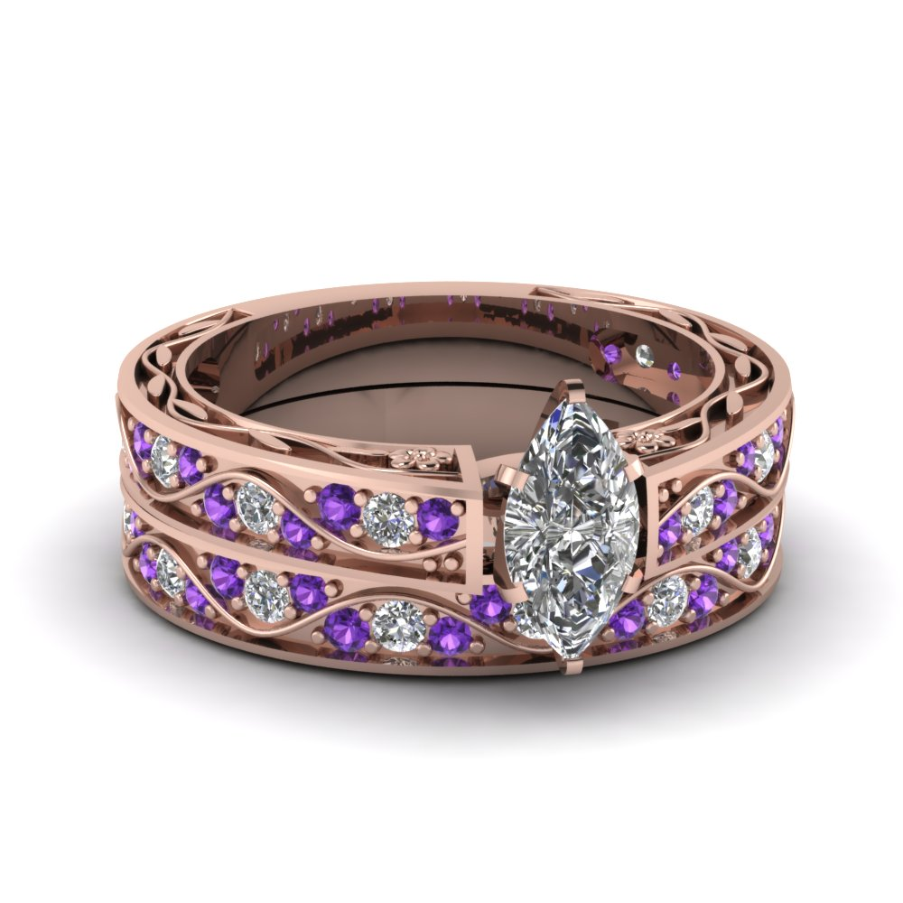 marquise cut antique diamond filigree wedding set with purple topaz in fdens3543mqgvito nl rg - Purple Wedding Ring