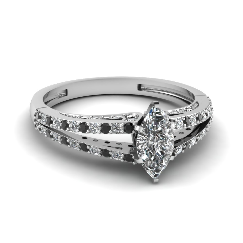 Marquise Shaped With Black Diamond Accents Ring In White Gold