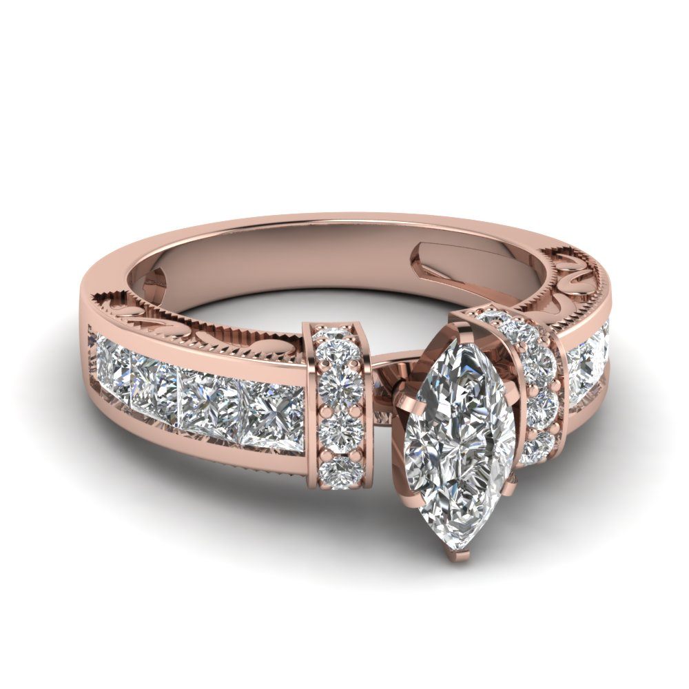 Marquise Shaped Diamond Symphony Vintage Engagement Ring In 18K Rose Gold