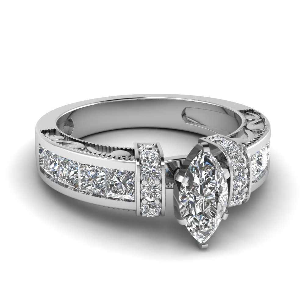 marquise shaped diamond symphony vintage engagement ring in 950
