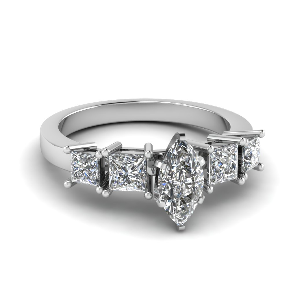 White Gold Marquise Engagement Ring With 4 Prong Princess accents