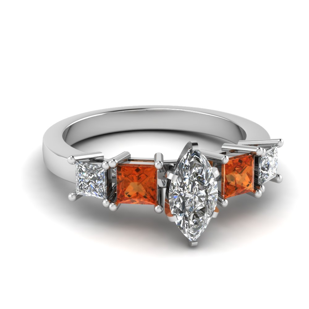 basket marquise cut 5 stone engagement ring with orange sapphire in FDENR1012MQRGSAOR NL WG