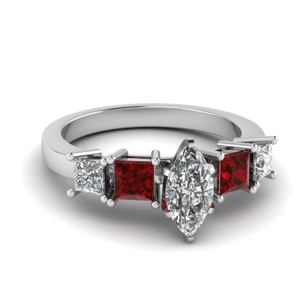 Marquise Shaped Diamond With Ruby Shank Engagement Ring