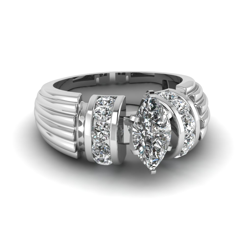 Wide Band Marquise Engagement Ring