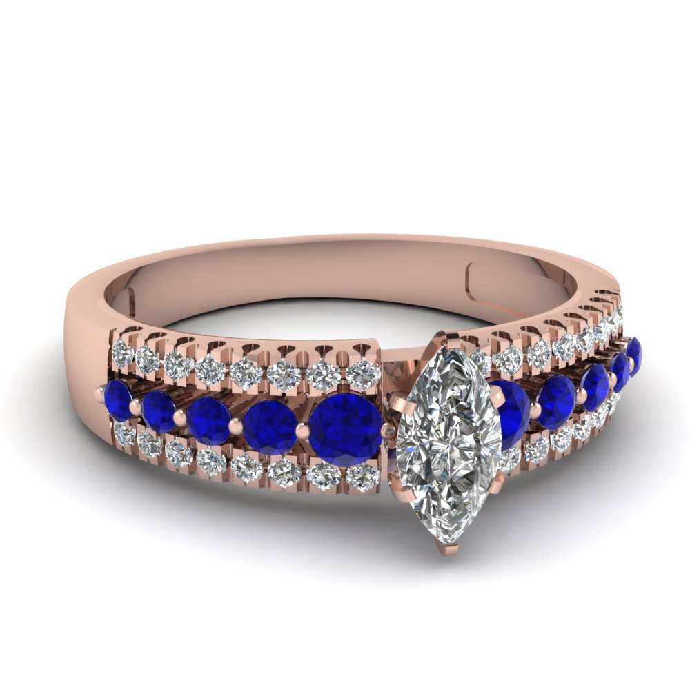 triple row marquise diamond engagement ring with sapphire in FDENS3014MQRGSABL NL RG