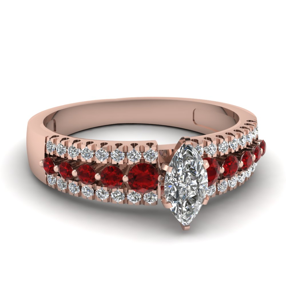 Beautiful Diamond Ring With Ruby Accents