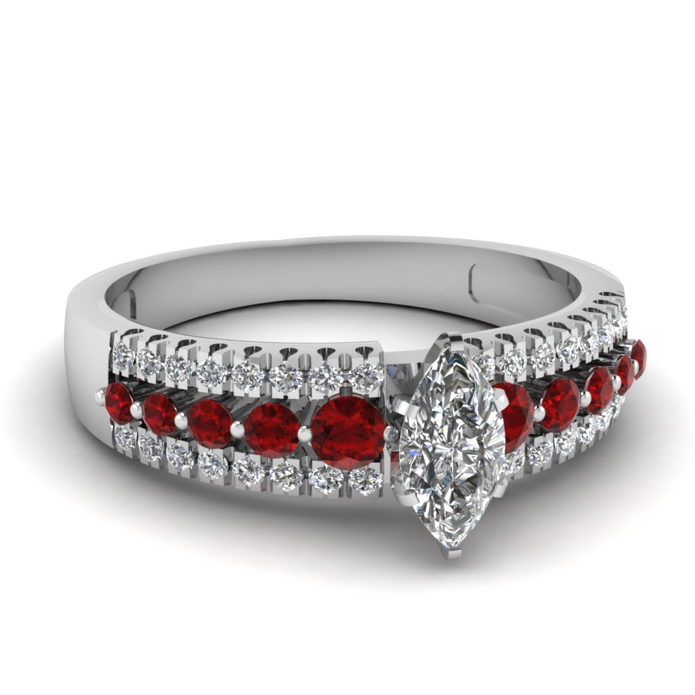 triple row marquise shaped diamond engagement ring with ruby in FDENS3014MQRGRUDR NL WG