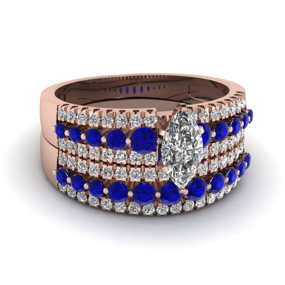 triple row marquise diamond wedding ring set with sapphire in FDENS3014MQGSABL NL RG
