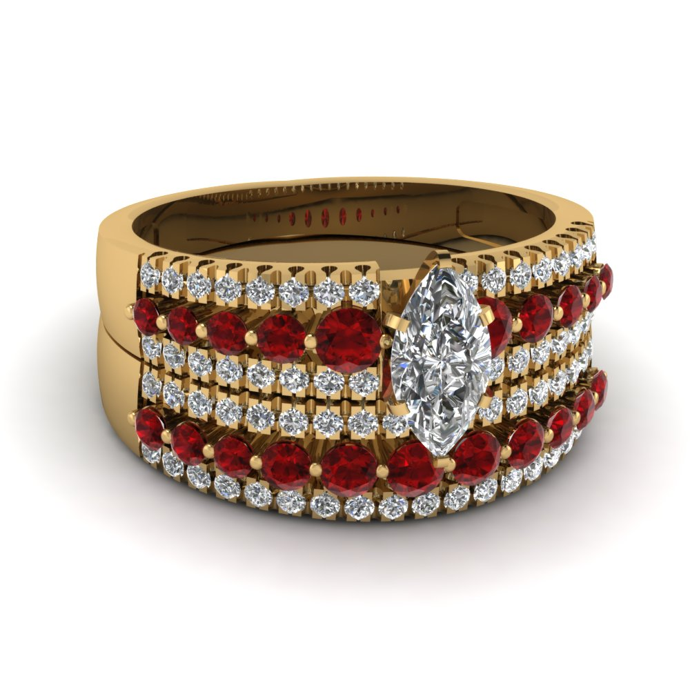 triple row marquise shaped diamond wedding ring sets  with red ruby in 14K yellow gold FDENS3014MQGRUDR NL YG