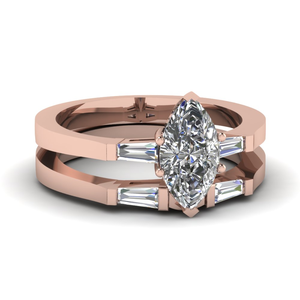 Simple Pink Gold Marquise Cut Diamond Bridal Set