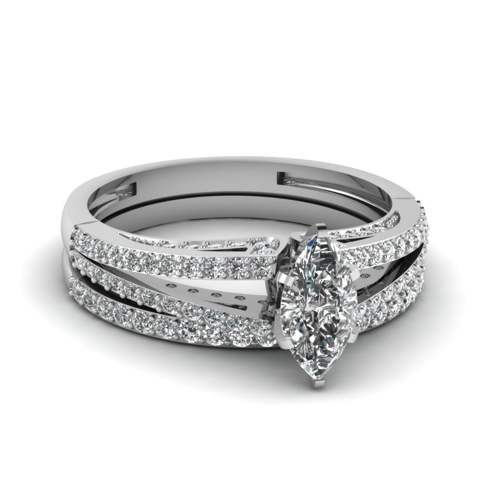 marquise shaped diamond wedding ring sets with white diamond in 14k white gold