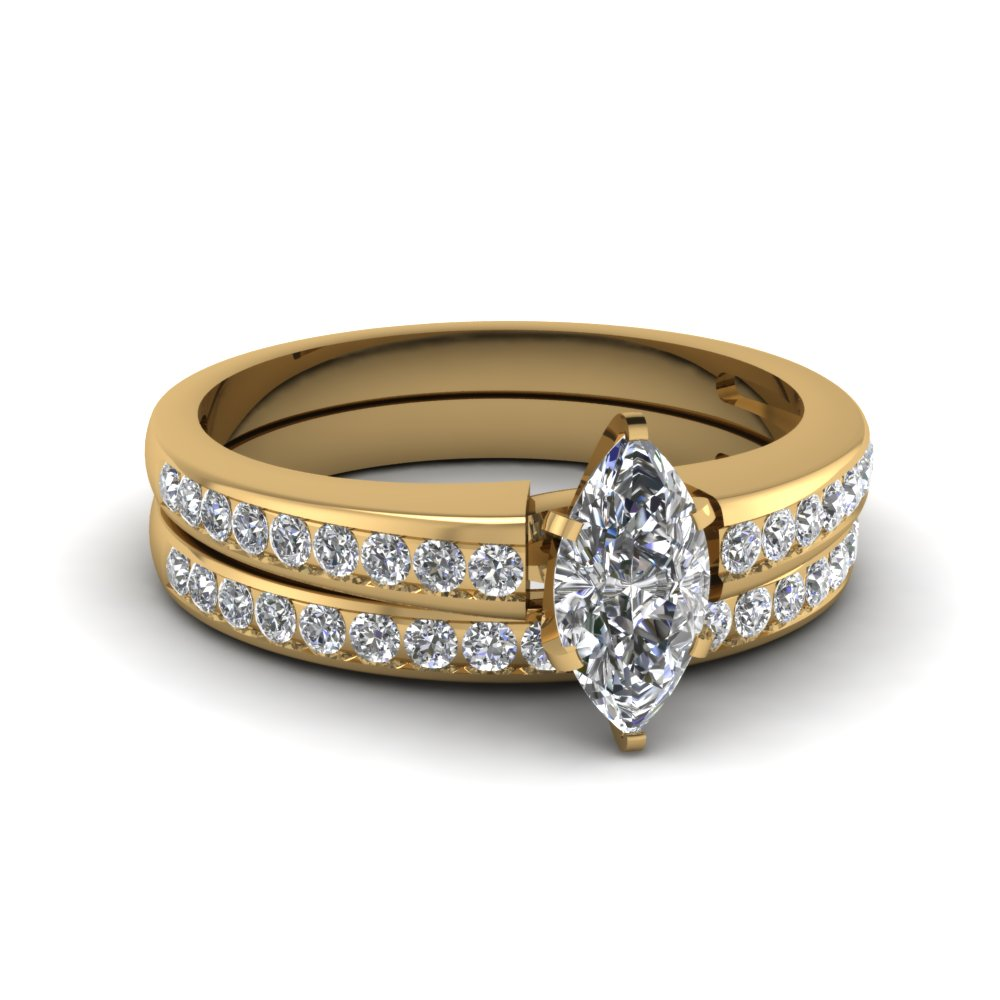 Marquise Shaped Diamond Wedding Ring Set In 14K Yellow Gold Fascinating Dia