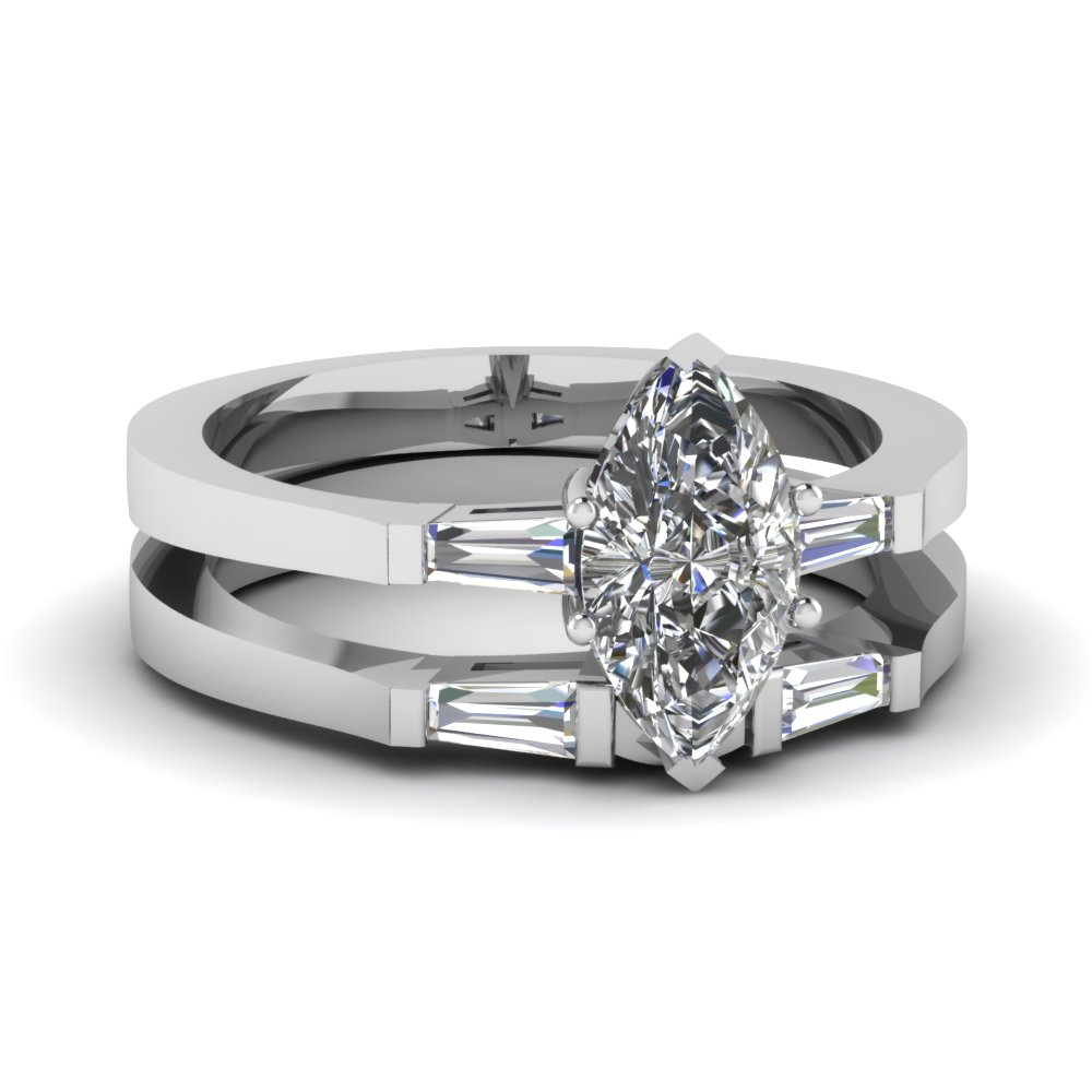 Three Stone Marquise Diamond Wedding Sets In 18k White Gold