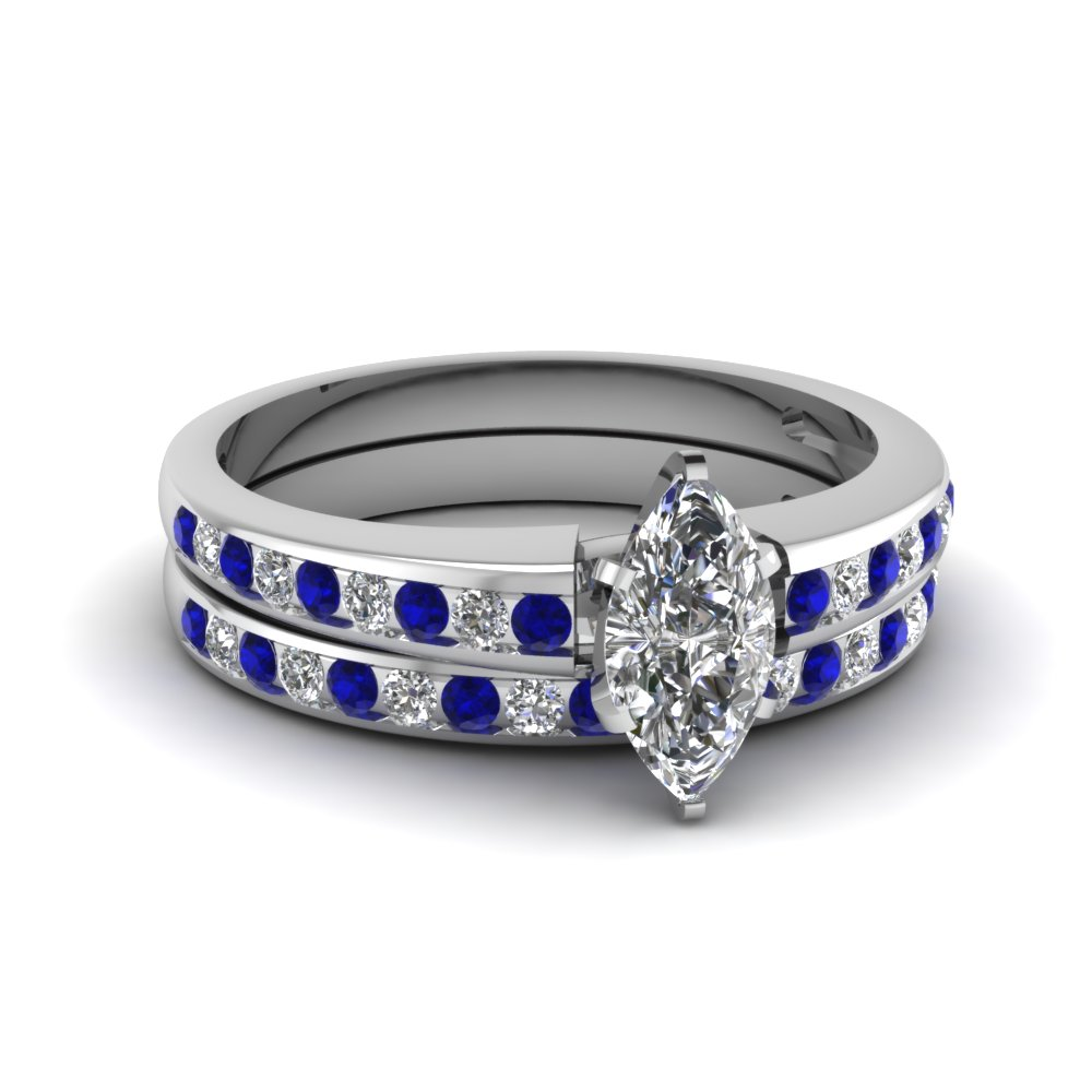 marquise shaped diamond wedding ring sets with blue sapphire in 14k white gold