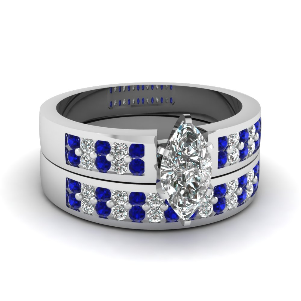 Marquise Shaped Diamond Wedding Ring Set With Blue