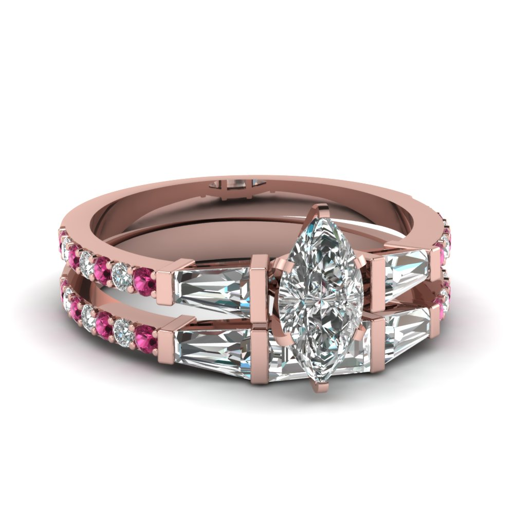 marquise shaped diamond wedding ring sets with pink sapphire in 14k rose gold - Gold Diamond Wedding Rings