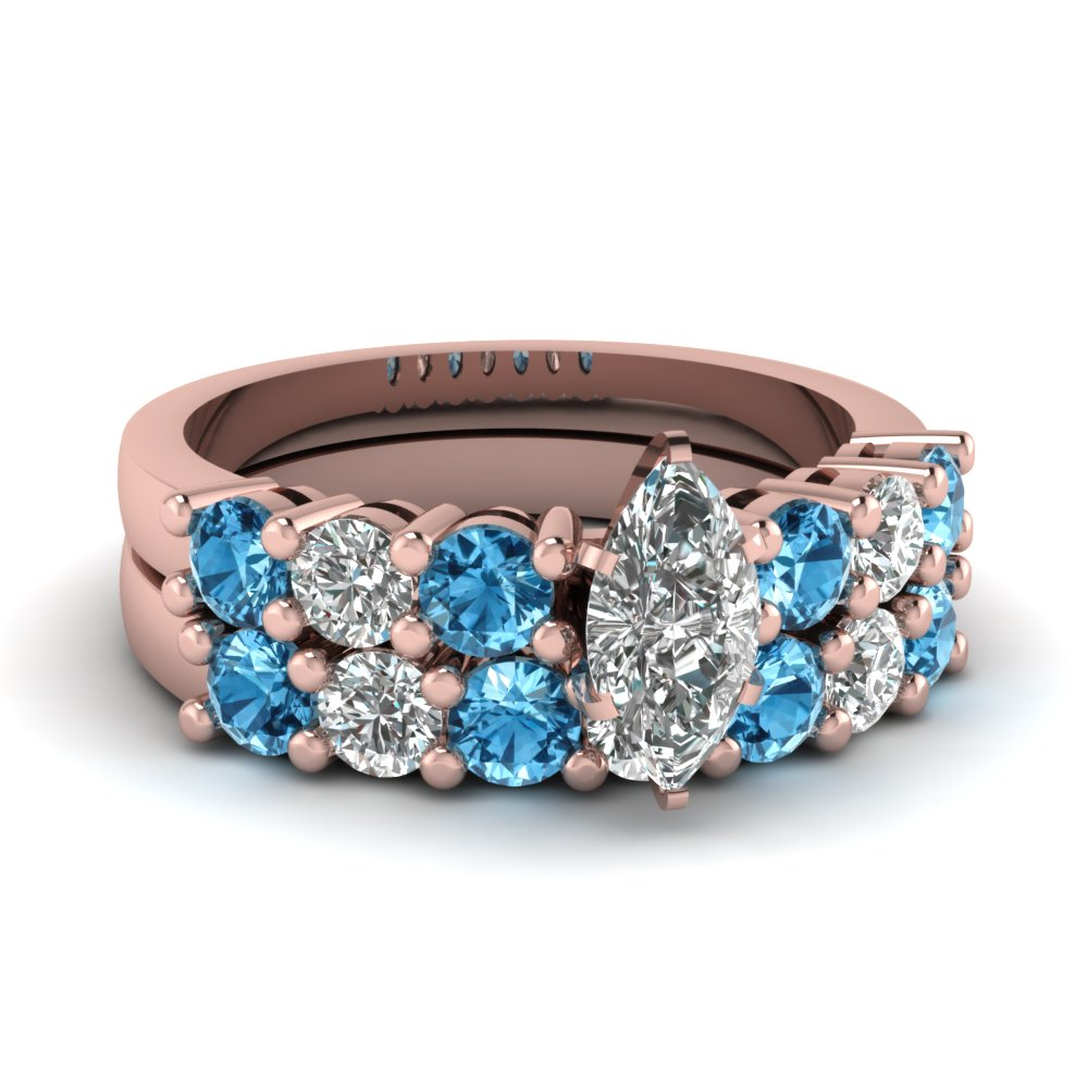 marquise cut basket prong diamond wedding ring set with blue topaz in FDENS141MQGICBLTO NL RG