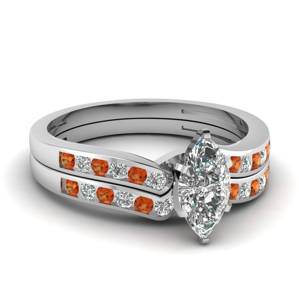 marquise shaped diamond channel bridal set with orange sapphire in FDENS3092MQGSAOR NL WG.jpg