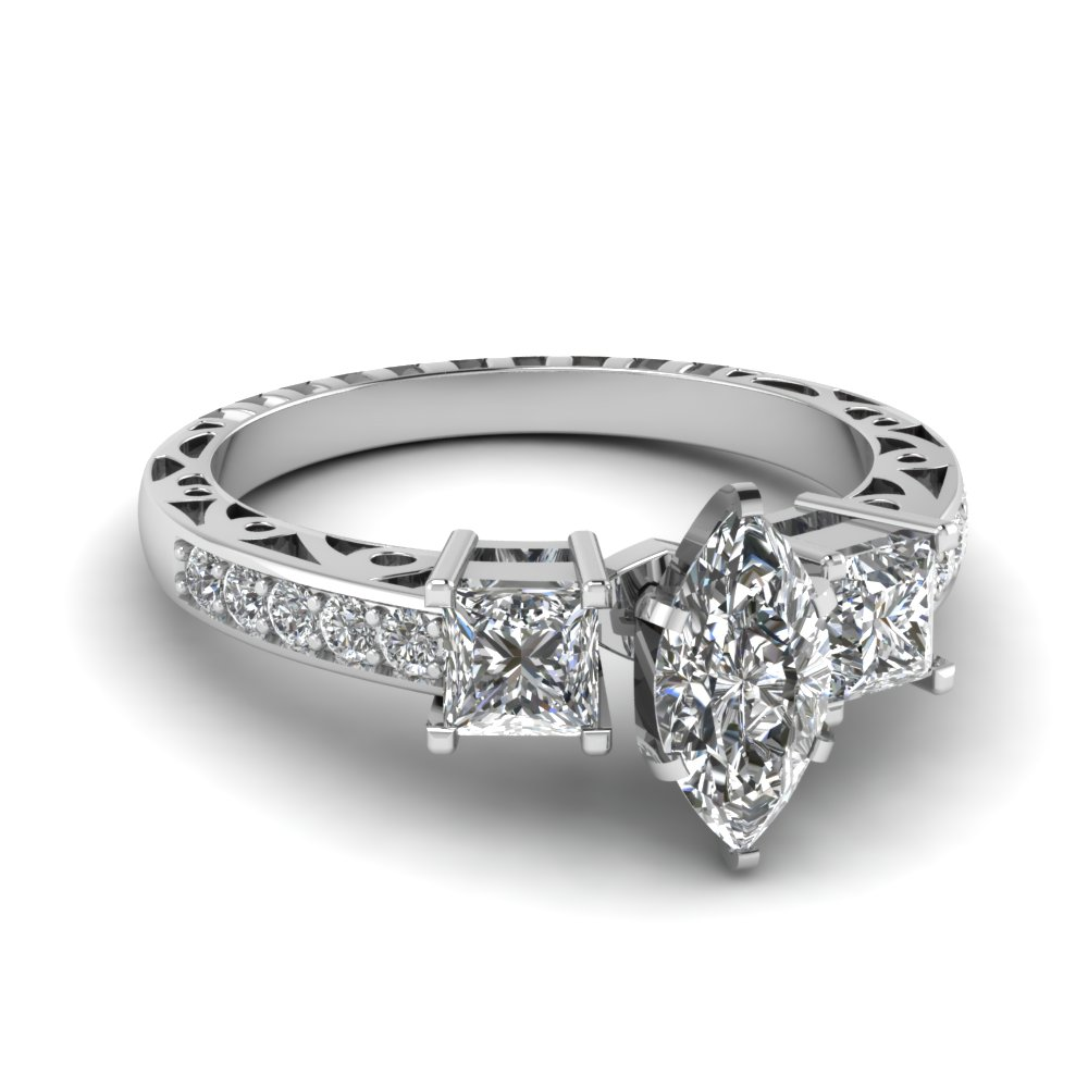 marquise shaped diamond whistle charm vintage ring in 950 platinum