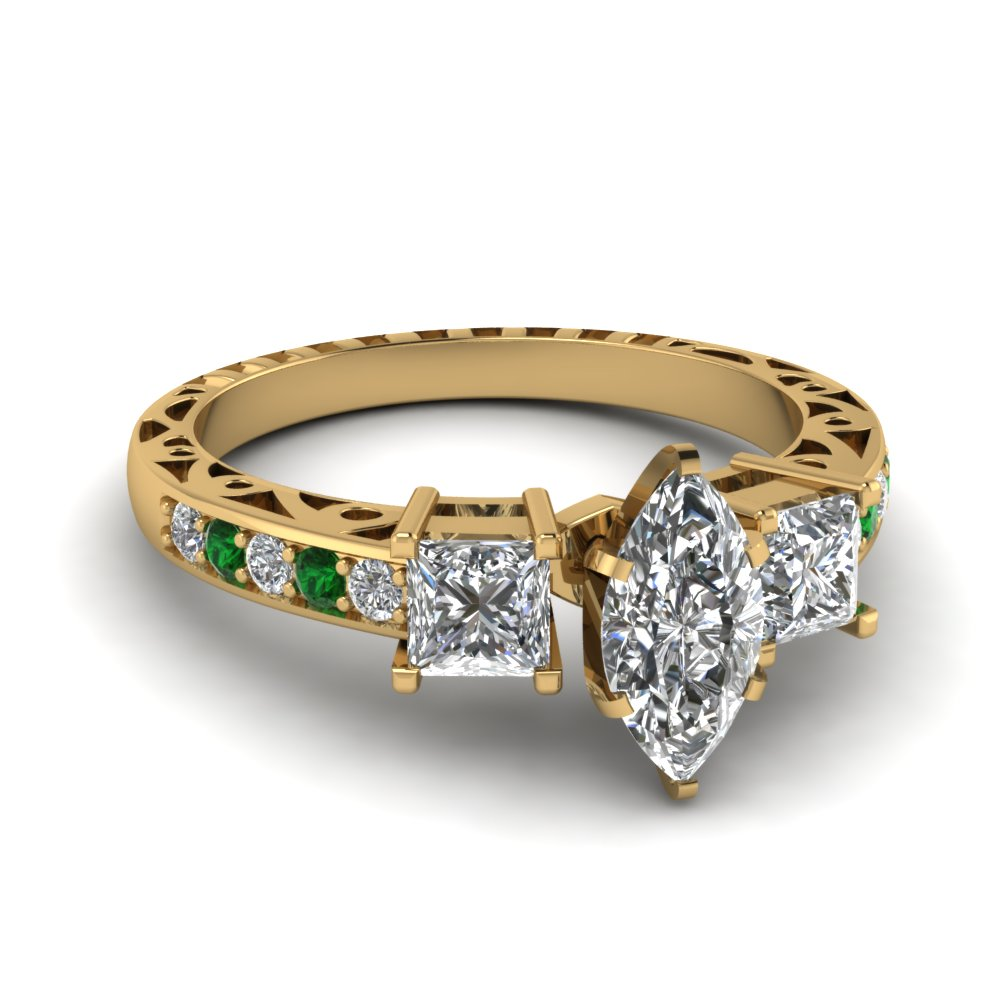 marquise shaped vintage 3 stone diamond engagement ring with emerald in FDENR1816MQRGEMGR NL YG.jpg