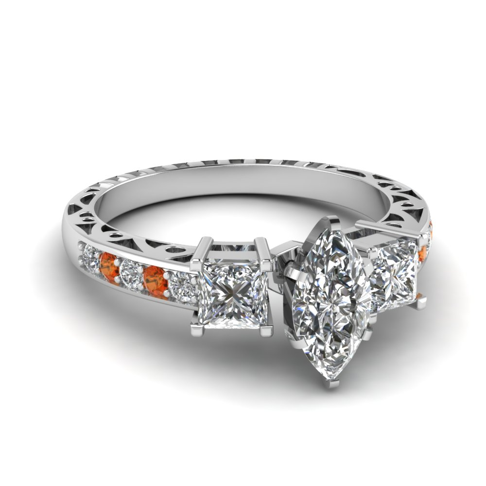 marquise shaped vintage 3 stone diamond engagement ring with orange sapphire in FDENR1816MQRGSAOR NL WG.jpg