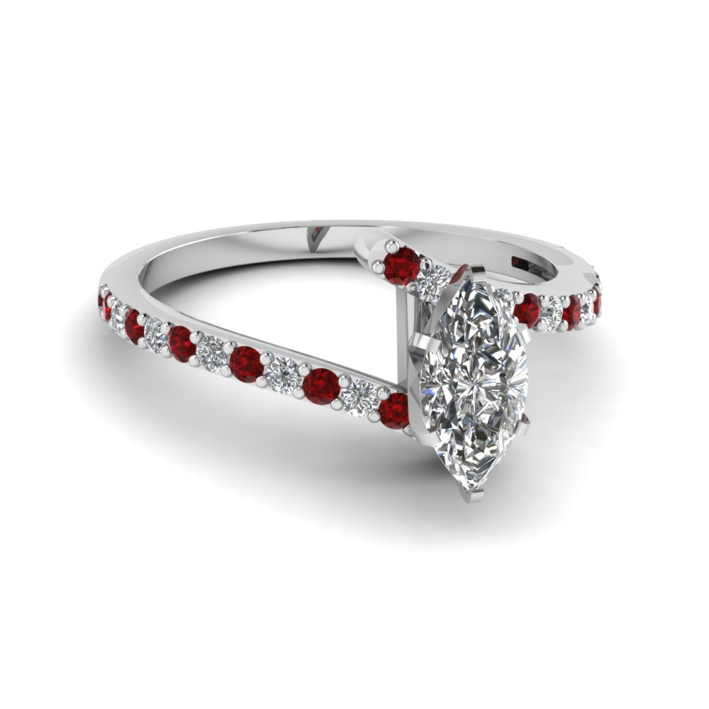 petite bypass marquise cut diamond engagement ring with ruby in FDENS3007MQRGRUDR NL WG