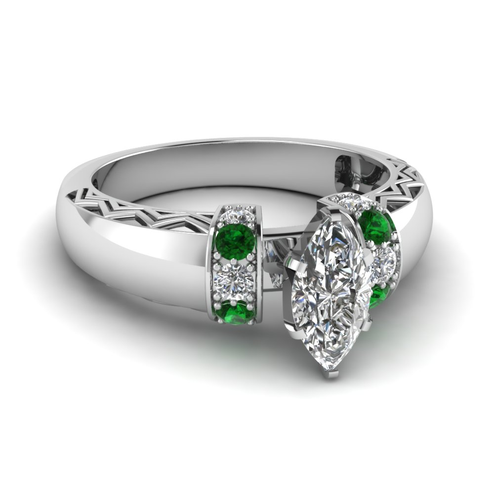 marquise shaped diamond zigzag design engagement ring with emerald in 18K white gold FDENR3211MQRGEMGR NL WG