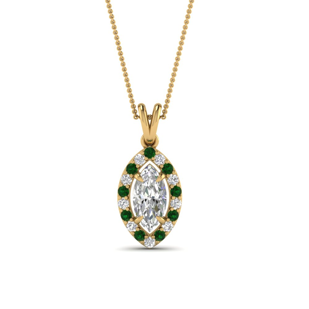 halo marquise diamond pendant with emerald in FDPD1188MQGEMGR NL YG