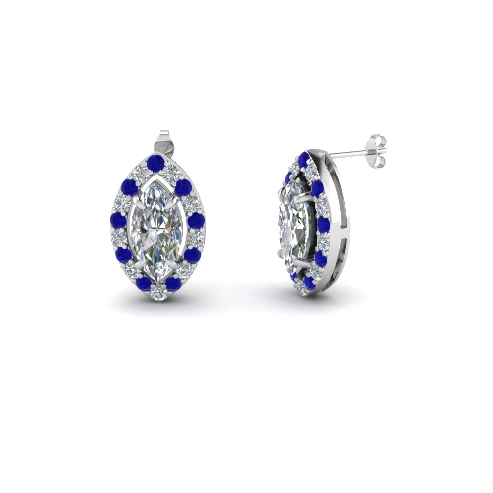 Marquise Halo Sapphire Earring