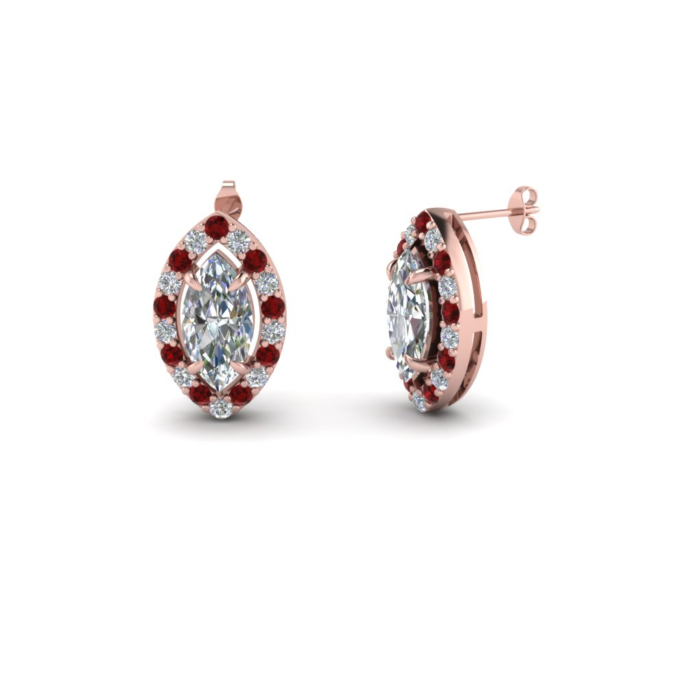 Marquise Shaped Halo Diamond Stud Earring With Ruby In Fdear1186mqgrudr Nl Rg
