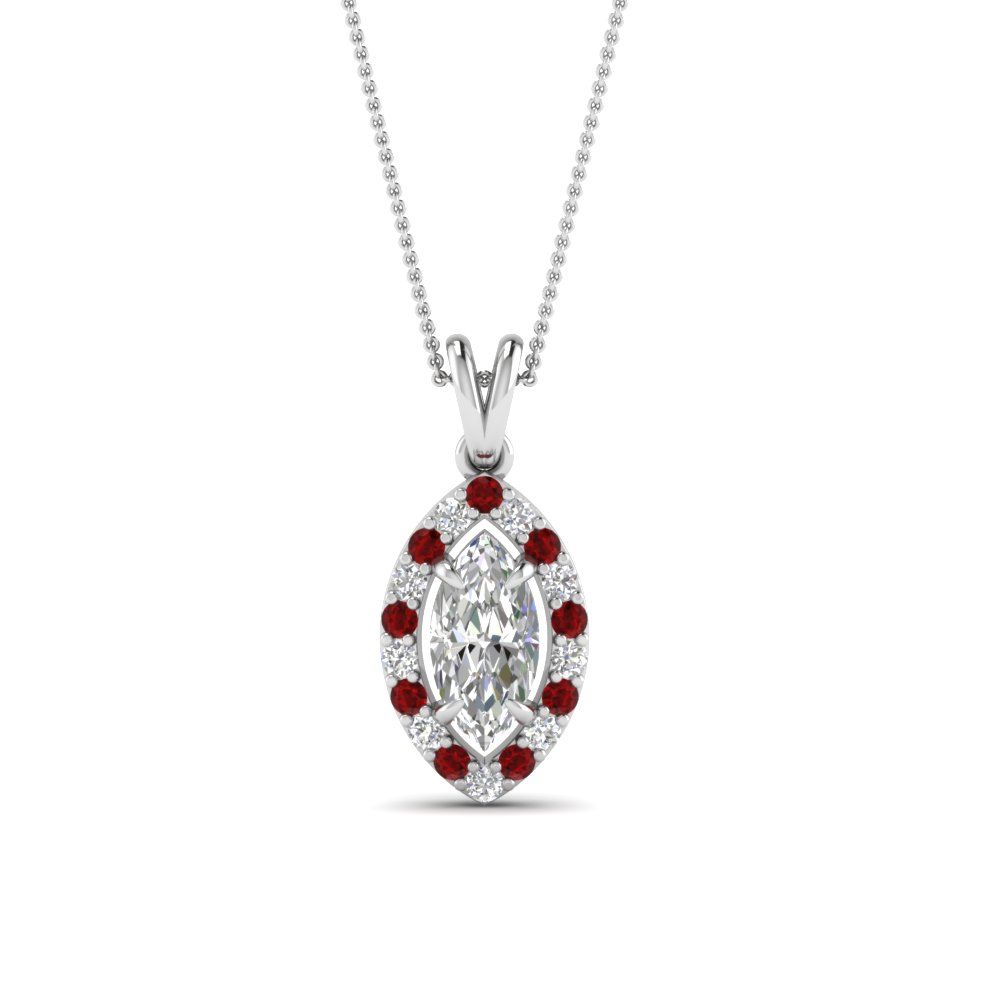 Platinum Ruby Pendant Necklace