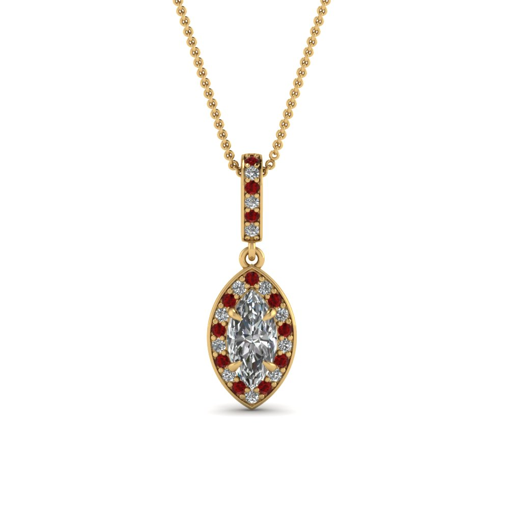 marquise halo diamond pendant with ruby in FDPD85656MQGRUDR NL YG