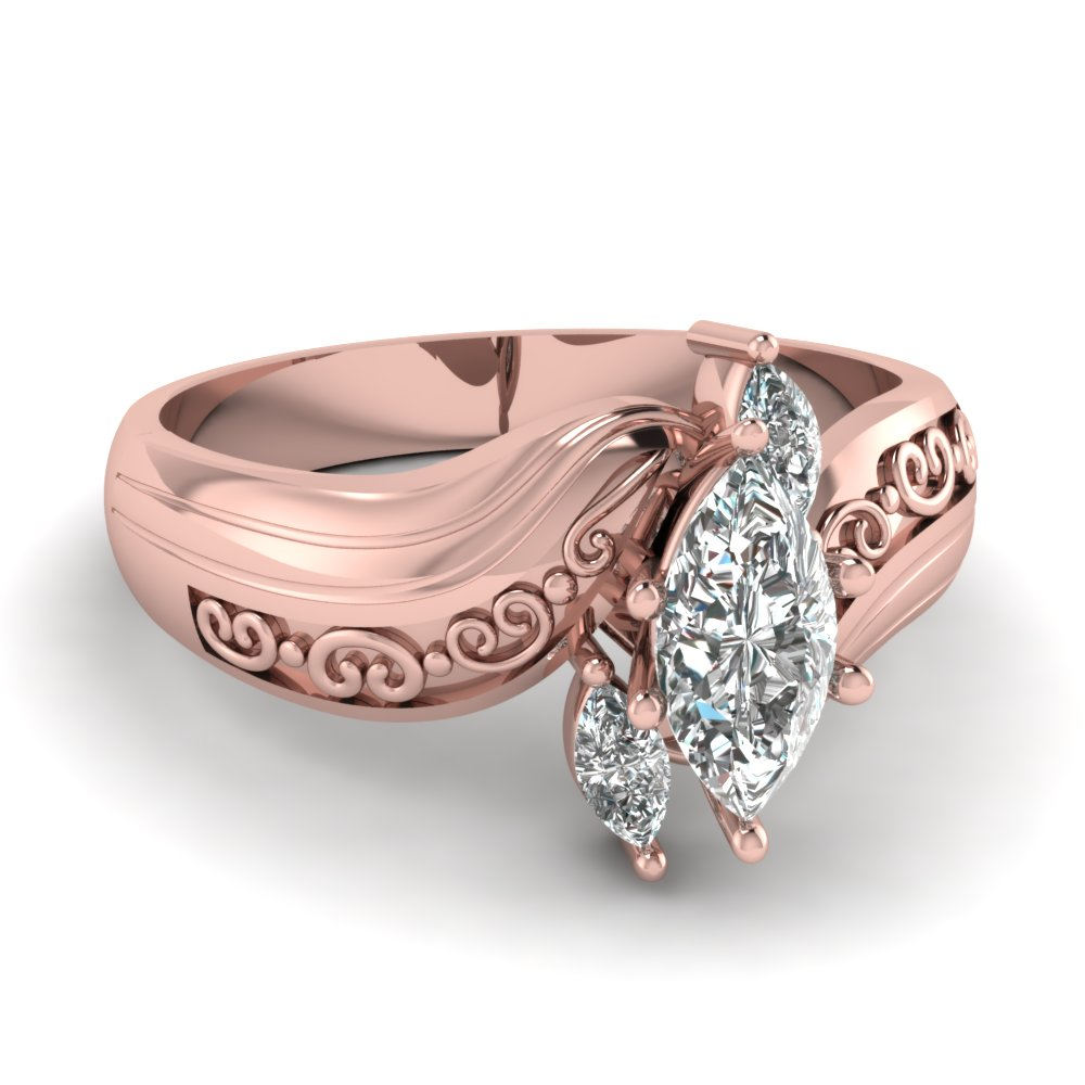 Marquise 3 Diamond Engagement Ring In 14K Rose Gold | Fascinating ...