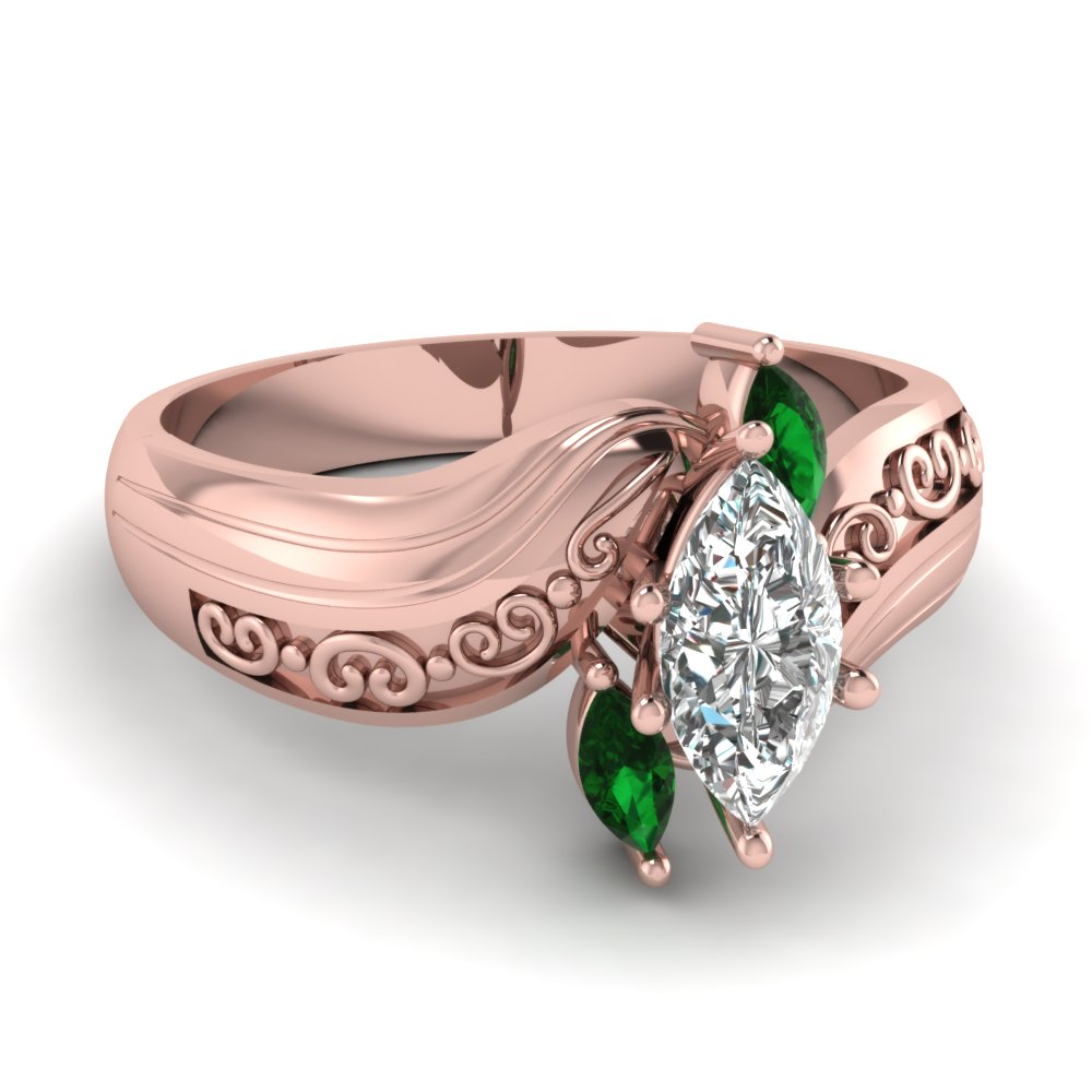 Marquise 3 Diamond Engagement Ring With Emerald In 14K Rose Gold ...