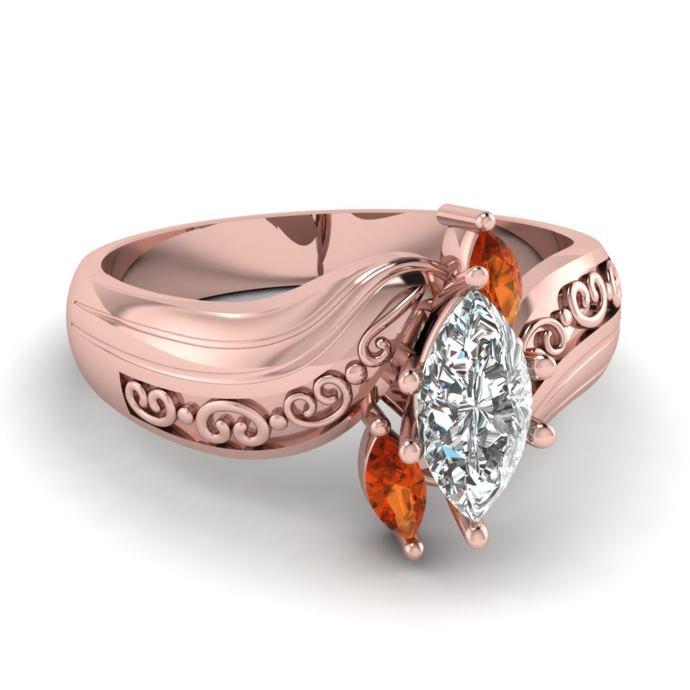 Marquise 3 Diamond Engagement Ring With Orange Sapphire In 18K Rose ...