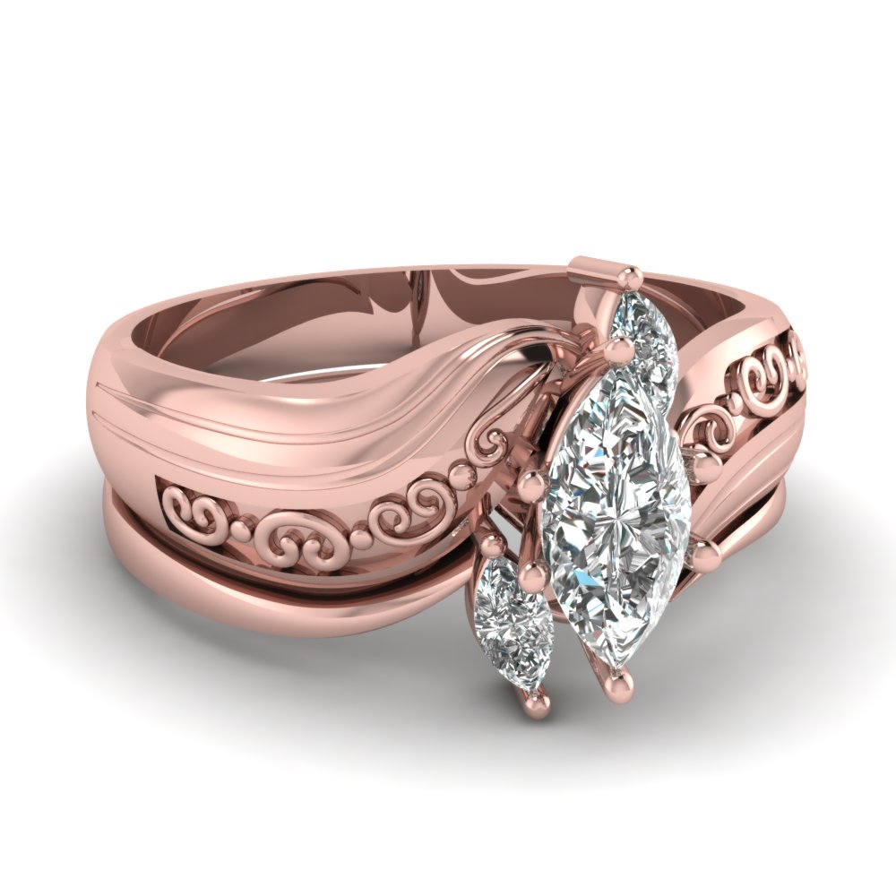 Marquise Three Diamond Engagement Wedding Ring Set In 14K Rose Gold