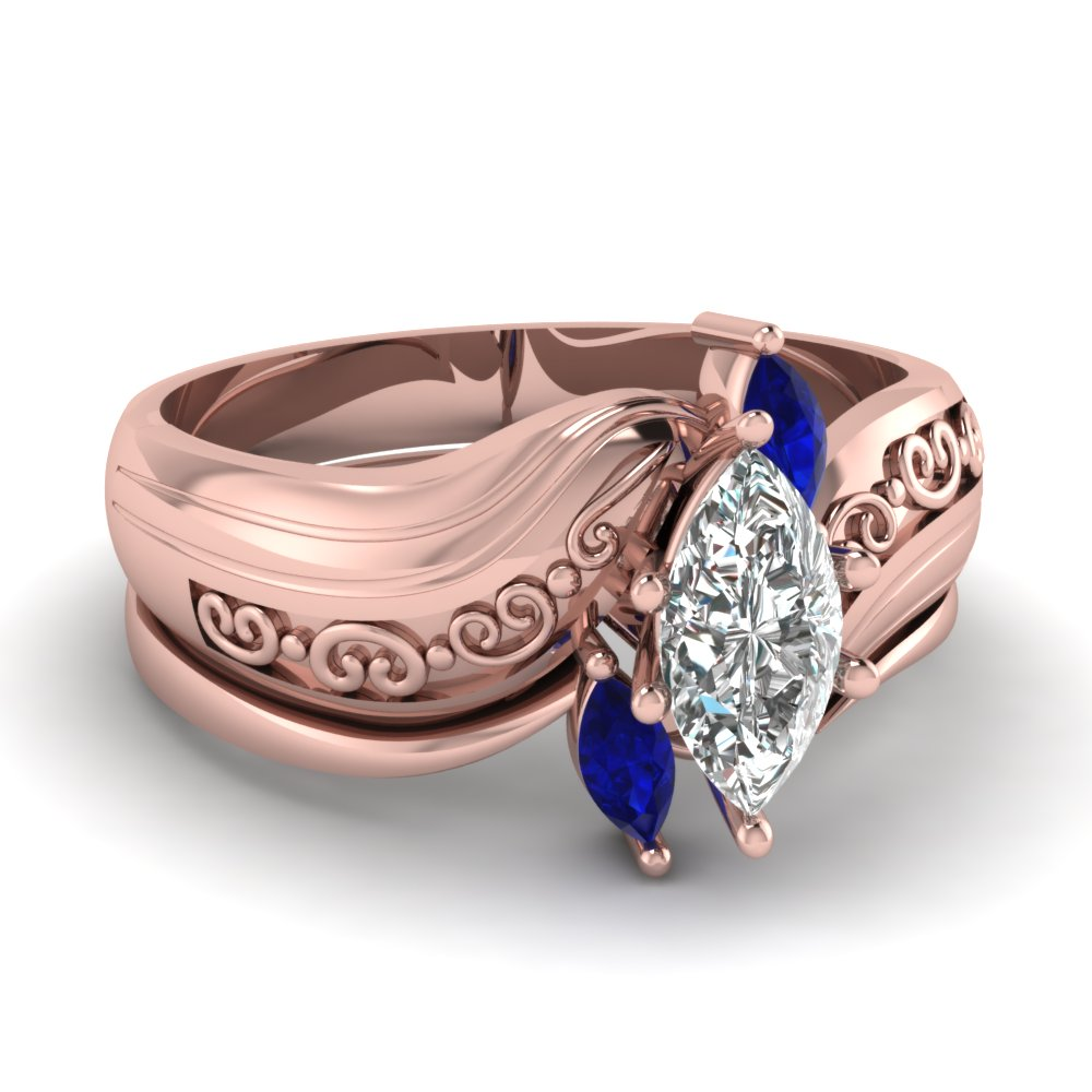 Largest selection of Blue Sapphire Wedding Ring Sets| Fascinating ...