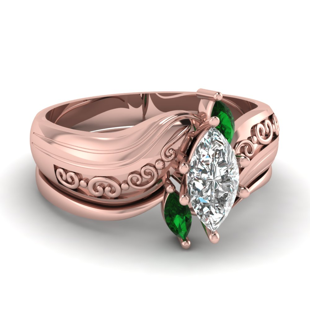 Buy Emerald Wedding Ring Sets Online | Fascinating Diamonds