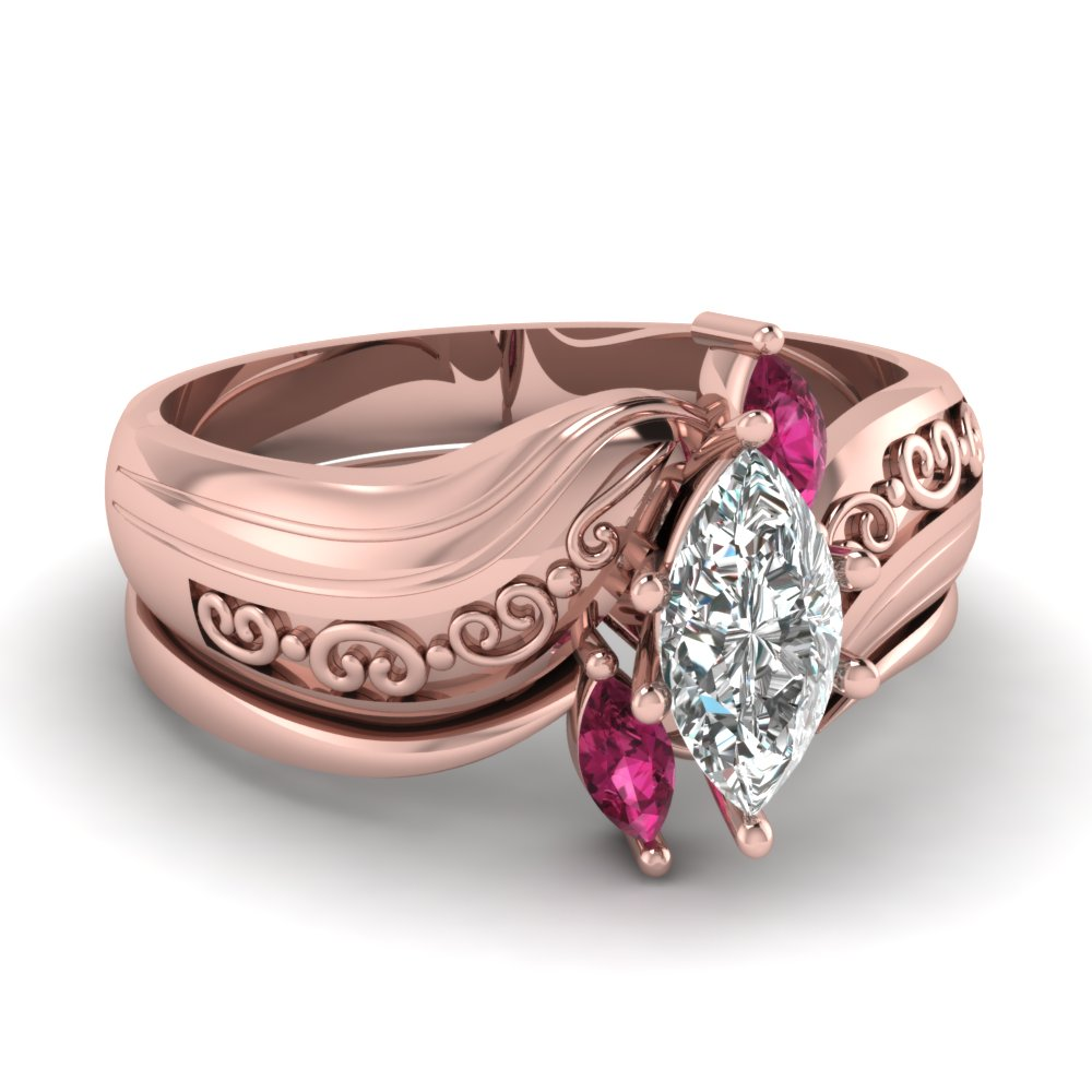 Buy Affordable Pink Sapphire Wedding Ring Sets Online | Fascinating ...