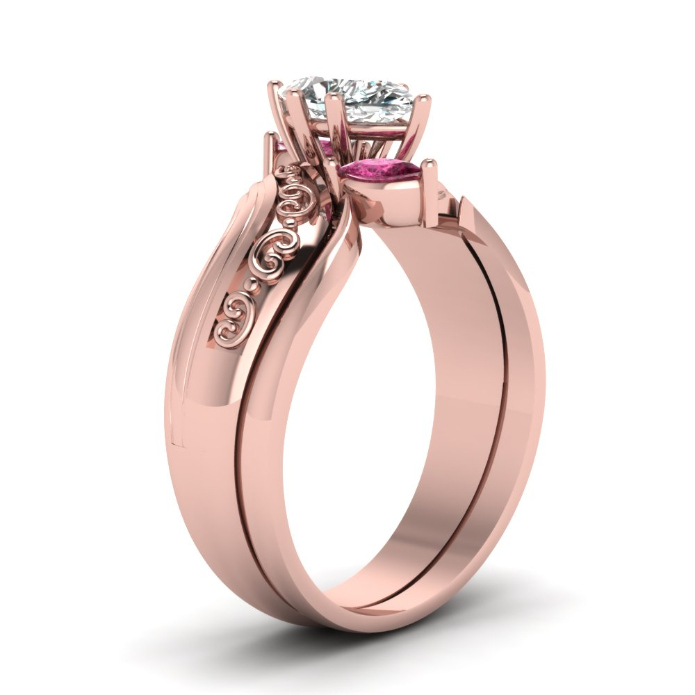 Marquise Three Diamond Engagement Wedding Ring Set With Pink ...