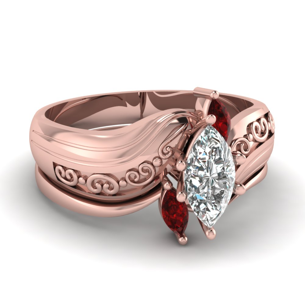 Latest Designs Of Ruby Wedding Ring Sets | Fascinating Diamonds