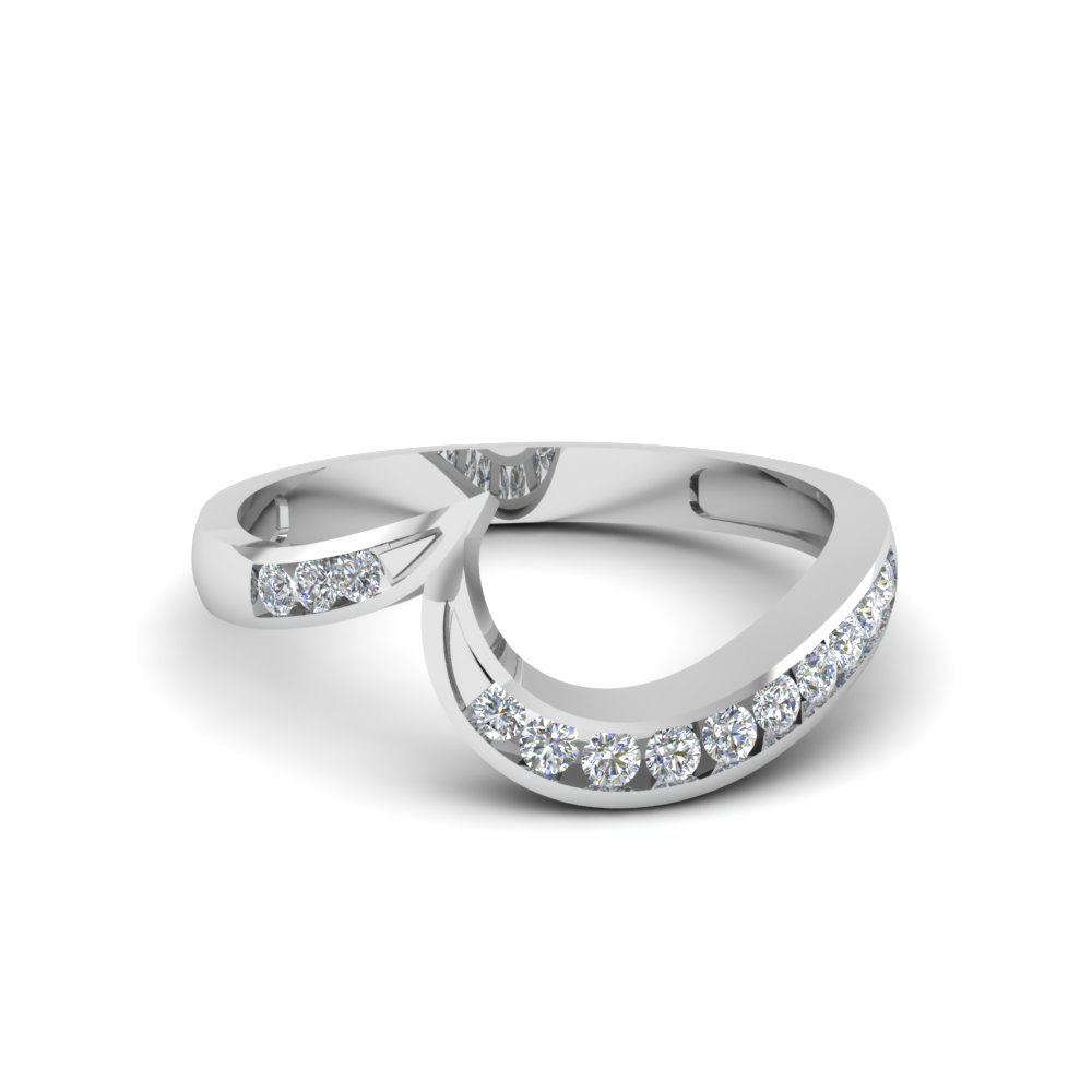 curved channel diamond wedding band in FDENS594B NL WG