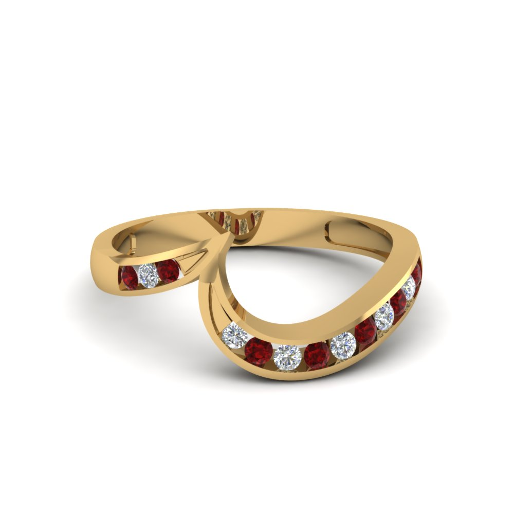 Matching Curved Ruby Diamond Band