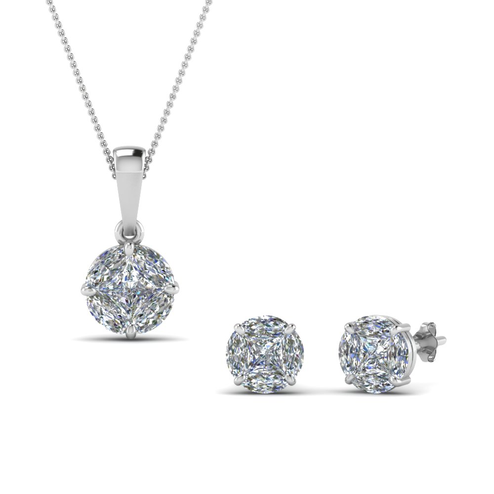 matching earring and pendant set sale in 14K white gold FD8538 NL WG